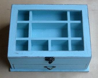 "Light  Blue ""Shabby Chic"" Wooden Jewelry Box"