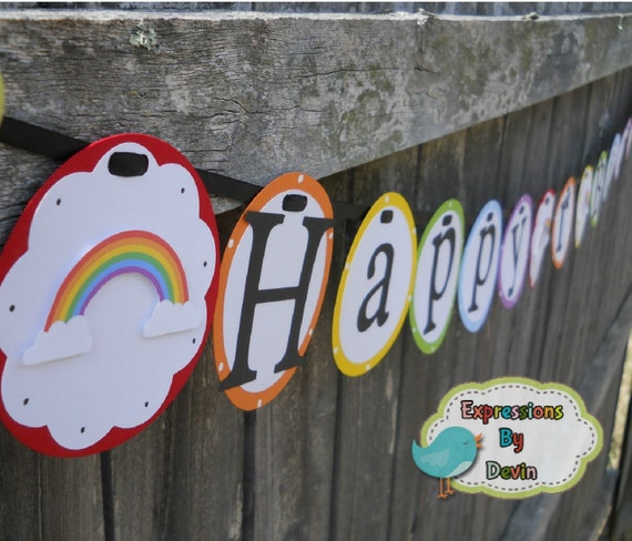 Rainbow and Sunshine Party Theme Birthday Banner