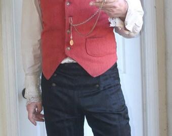 Black Stripe Button Flap Front  Steampunk Pants