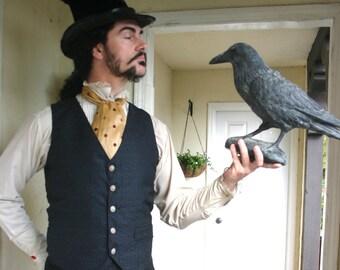 Charcoal Grey Patterned Tapestry Gentlemen's Steampunk Vest