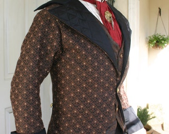 Brown and Black Fleur de Lys Tapestry Swallowtail Steampunk Coat