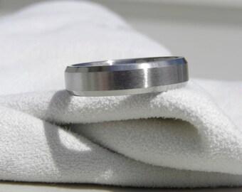 Mens Ring, Titanium Ring, Beveled Edge, Wedding Band