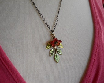 Garden Party Necklace Green Enamel Leaf Charm and Wire Wrapped Glass Bead on Dark Copper Chain Unique Gift
