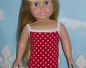 18 inch Doll Swimsuit Handmade Red with White Poka Dots