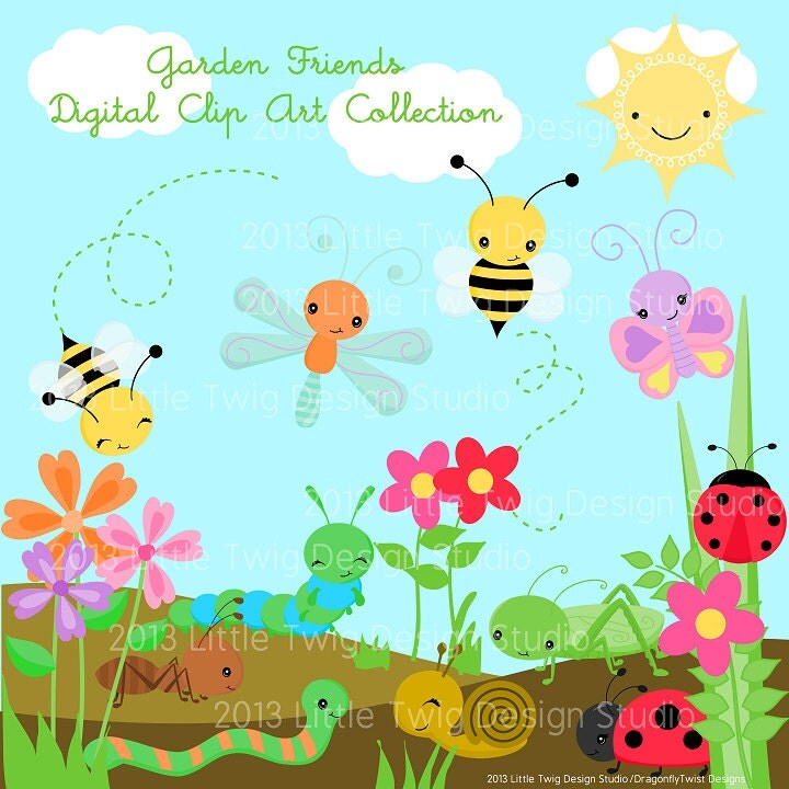 Garden Bug Friends Digital Clipart clip art by JandGDesignStudio