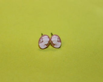 Teeny Tiny Light Pink Victorian Lady Cameo Earrings