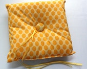 Bright Yellow Polka Dot Ring Pillow