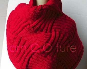 The Basketweave Textured Cowl / Shorter Version - In RED
