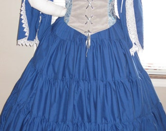 DDNJ Choose FabricsReversible Front Lace Corset Chemise Skirts 3pc plus Custom Made  ANY Size  Renaissance Pirate Anime Wench Lolita Costume