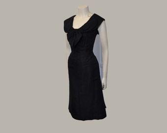 vintage 50s dress / Big Bow Arnold Fox Blue Silk / 1950s Cocktail Dress