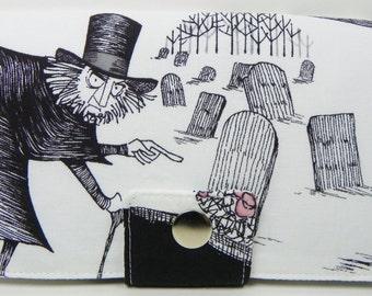 The Ghastlies -graveyard man in cream or smoke gray background -Handmade Long VEGAN Wallet  BiFold Clutch