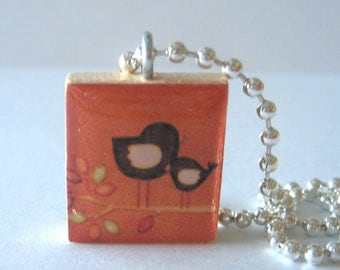 Two Cute Birds on a Branch Scrabble Tile Necklace
