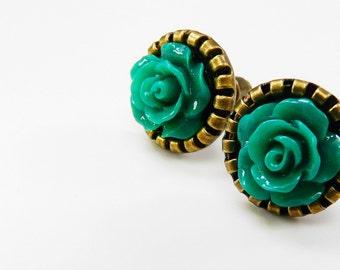 Earrings Post Earstuds Studs Emerald Green Antique Bronze Flower Earrings