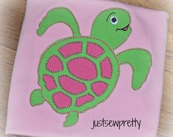 Redwork Sea Turtle Embroidery Applique Design