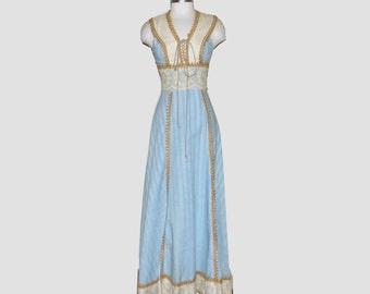 1960s Gunne Sax dress / 60s dress / black label / small s / Prairie Corset Dress