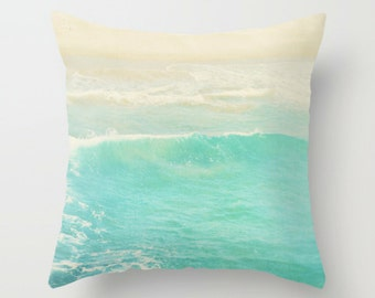 beach cottage decor, pillow cover, peppermint blue ocean wave, beach photography, nautical surfer home decor modern bedding 20x20