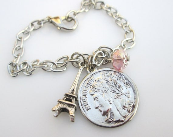 Eiffel Tower and French Coin Charm Bracelet