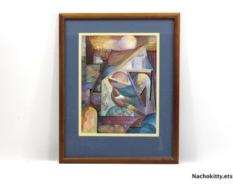 Abstract Watercolor by Jean Thuerer   Signed & Framed