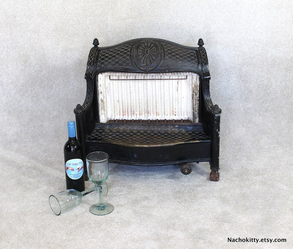 Gas antique fireplace small space cast iron by barnowlgoods - Gas fireplaces for small spaces property ...