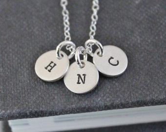 Three Tiny Personalized Initials Necklace, Sterling Silver, Hand Stamped Jewelry, Mommy Necklace