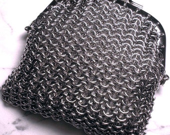 Stainless Steel Chainmaille Coin Purse with Silver Finish Clasp, change purse, flapper, 1920s, roaring twenties, art deco,