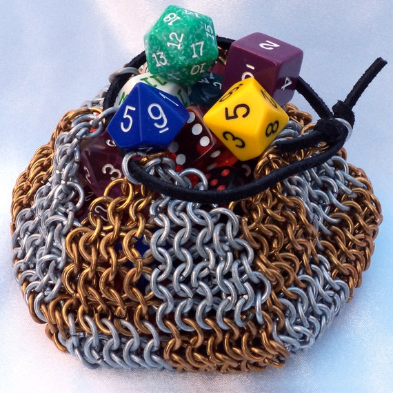 Deluxe Chainmail Dice Bag with Bronze Accents, d&d, games, gaming, dungeons and dragons, geek, hobby, gamer, roleplaying, rpg