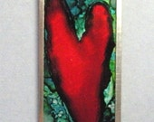Dexter inspired microscope slide pendant, alcohol ink, double sided, statement, unisex, heart