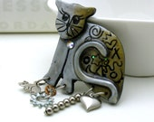 Vintage Silver Gold Kitty Pin / Vintage Cat Brooch with Charms / Pet / Cat / Pet Lover / Whimsical