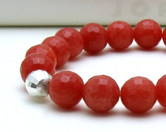 Watermelon Red Modern Agate Beaded Bracelet, Stretch Bracelet with Sterling Silver, for Her Unisex Under 50