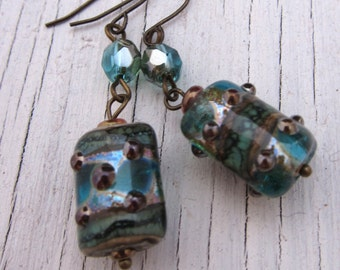 Aqua Glass Earrings, Murano, Lampwork