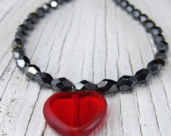 Red Heart Necklace, Black Czech Glass Beads by SusanHeleneDesigns