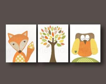 Nursery Wall Art Woodland Nursery Art baby nursery decor kids art tree fox nursery owls - Set of 3 Prints
