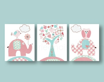 Turquoise pink Kids wall art- baby nursery decor- nursery wall art- tree- owl- elephant- bird- Set of 3 Prints -  Tree Of Love