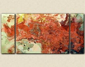 "Modern art giclee canvas print with gallery wrap, 30x60 to 40x78 triptych in fiery red, from abstract painting ""Fire Dance"""