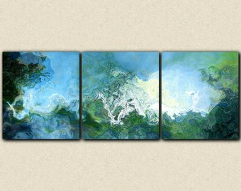"Oversized triptych abstract expressionism stretched canvas print, 34x90 giclee in blue, from abstract painting ""Rising"""