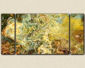 "Oversize triptych abstract expressionism 30x60 to 40x78 stretched canvas print, in earth tones, from abstract painting ""Legendary"""