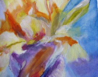 Original Painting Flower Iris in the Abstract Contemporary Wall Art