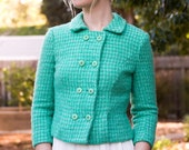 1960's GREEN Boucle Plaid Tweed Double Breasted Jacket Extra Small / Small
