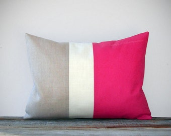 Hot Pink Linen Decorative Pillow with Color Block Stripes by JillianReneDecor Modern Home Decor Color-block