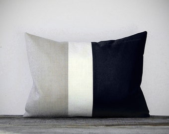 Classic Color Block Decorative Pillow with Black, White and Natural Linen Stripes by JillianReneDecor Neutral Minimal Modern Home Decor