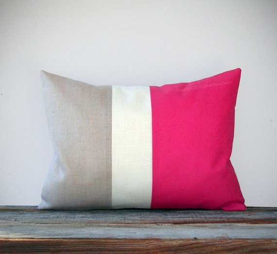 Pink Linen Throw Pillow : Hot Pink Linen Decorative Pillow with Color Block Stripes by