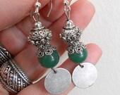 Jade drop earrings,  Silver and green jade earrings, gift for women, dangle earrings, bohemian jewelry