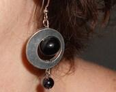 Onyx dangle Earrings,  Bohemian round black earrings,  Boho gypsy jewelry