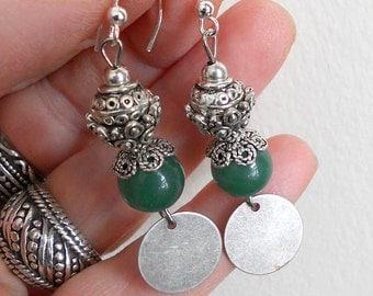 Jade earrings, gypsy jewelry, green earrings, dangle earrings, boho earrings, silver link earrings, gift for women, bohemian jewelry
