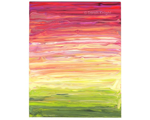 strawberry guava phantasm, an original 8X10 abstract acrylic painting by Sarah Knight, neon pink yellow chartreuse color