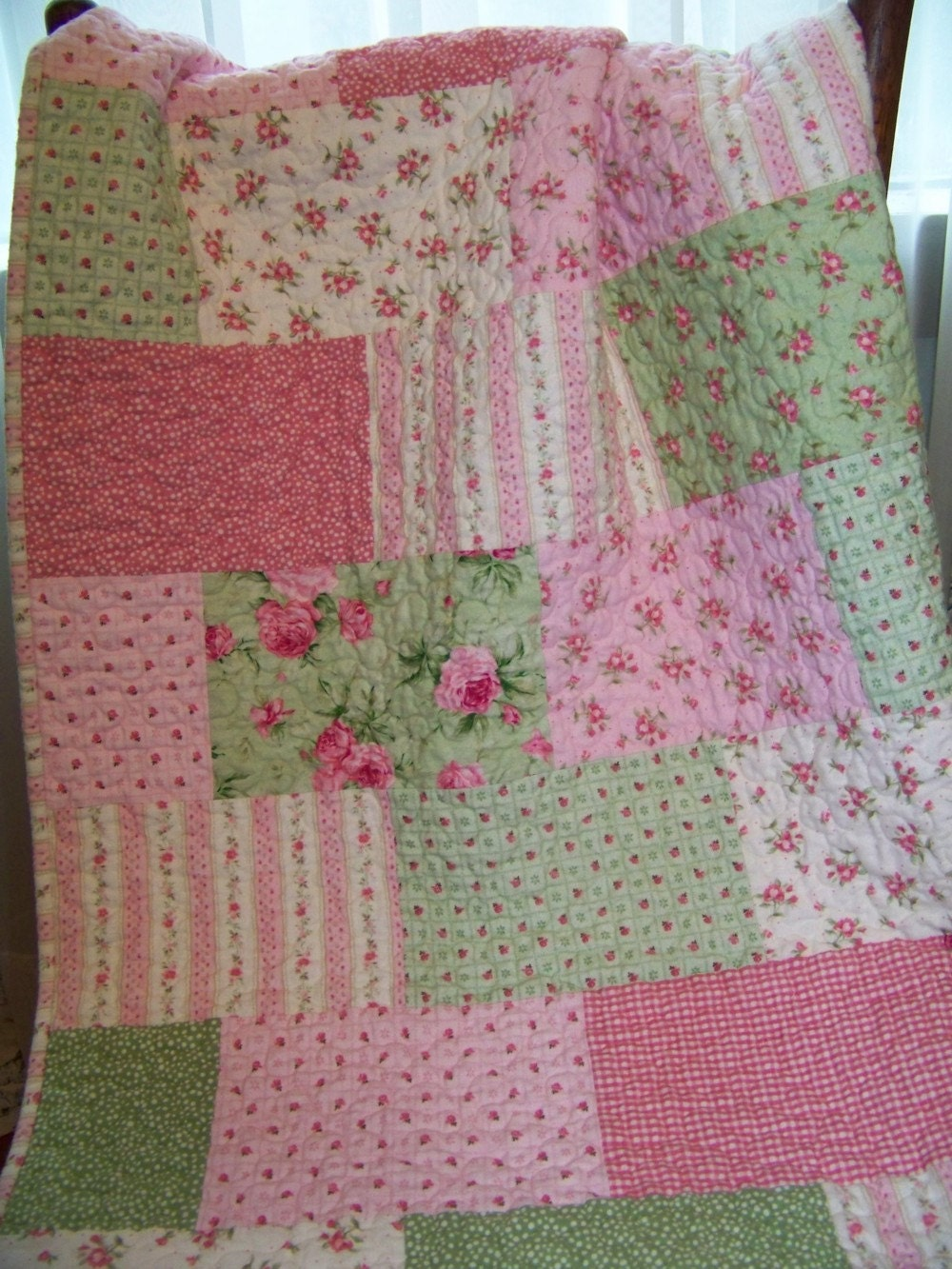 Pink Roses Flannel Quilt For Baby Girl Or Toddler