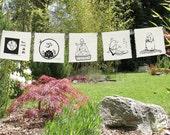 Buddha prayers - 5 group silk prayer flags