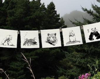 5 group - The Endangered Ones - silk prayer flags - Tiger - Panda Bear - Sea Turtle - Prairie Dog - Polar Bear - Evironment -Wildlife