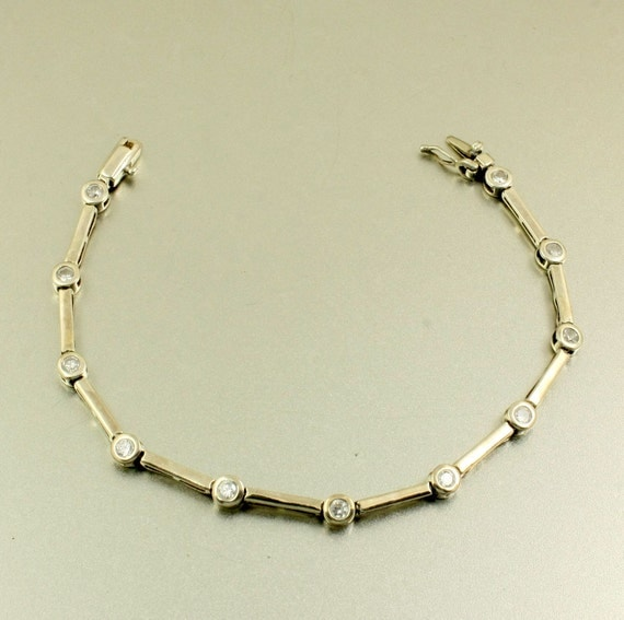 Vintage Sterling Silver Tennis Bracelet With Faux Diamonds