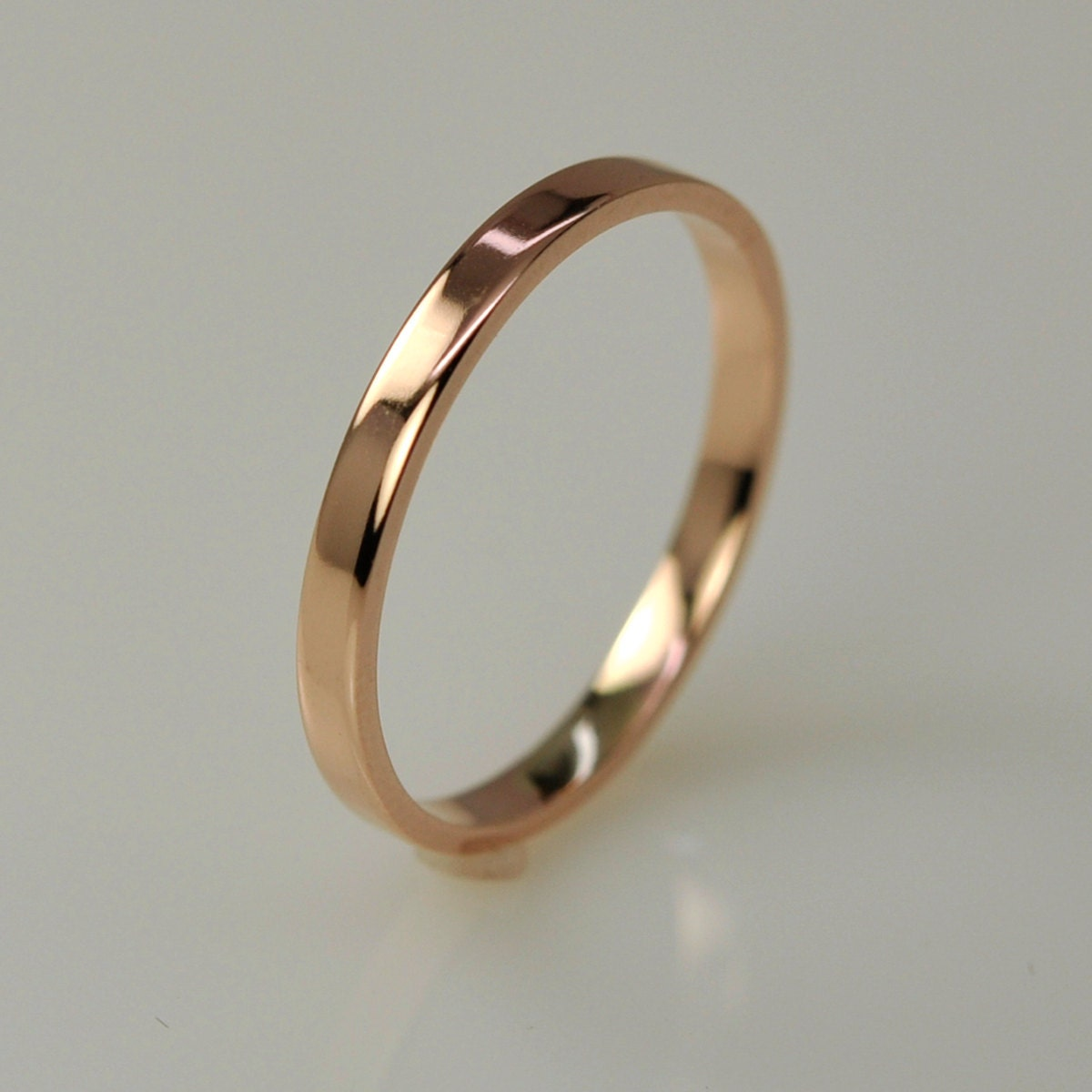gold wedding band simple stacking ring 14k by